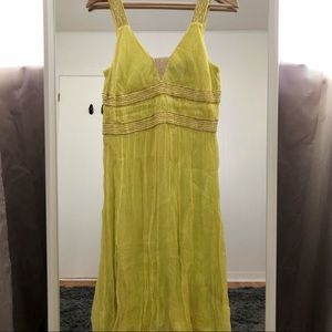 French Connection lime yellow midi dress